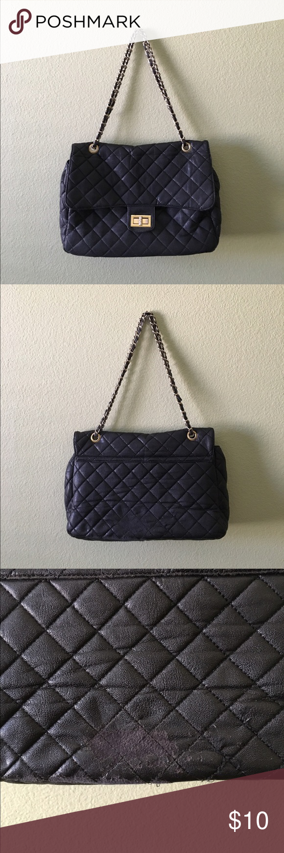 Black quilted shoulder bag Classic quilted design, roomy black handbag with gold hardware and chain strap(: big enough to hold notebooks! Minor wear as pictured, price reflects. Brandy Melville Bags