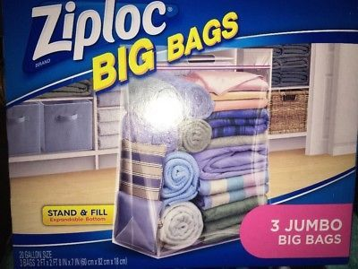 Ziploc Bags 3 Jumbo Large 20 Gallon Size New 1 Pack With