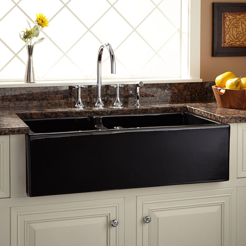 36 Aulani Italian Fireclay Farmhouse Sink With Drainboard Black Kitchen Fireclay Farmhouse Sink Black Farmhouse Sink Kitchen Decor