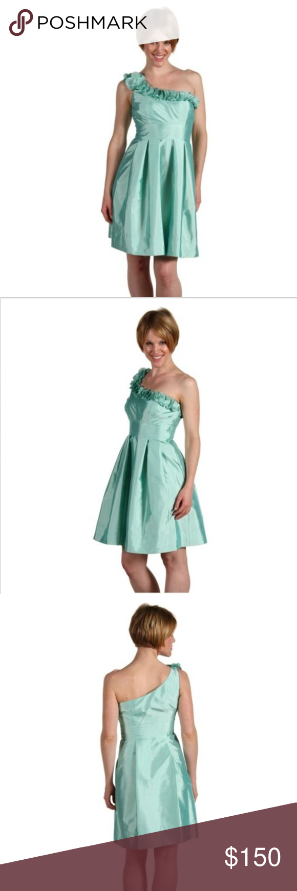 fb25b9f950 Eliza J One Shoulder Cocktail Knee Length Dress 6 Eliza J New York One  Shoulder Shantung Pleated Full Skirt Dress Color  Bay (Sea Foam Green  Color) One ...