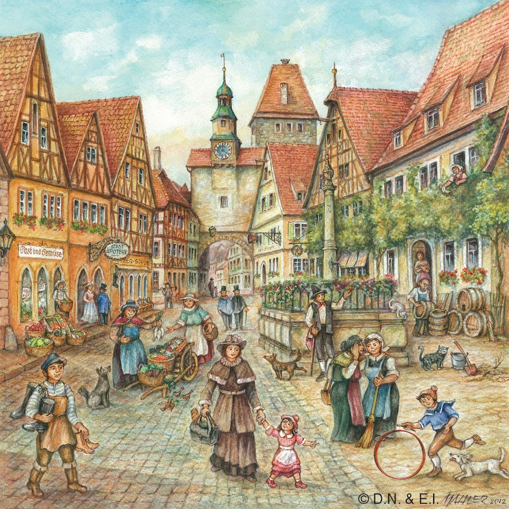 European gift magnet tile village street scene products pinterest the lively scene village street scene in a european village is the work of master painter joseph mahler decorative scene is on a ceramic tile with a hook dailygadgetfo Choice Image