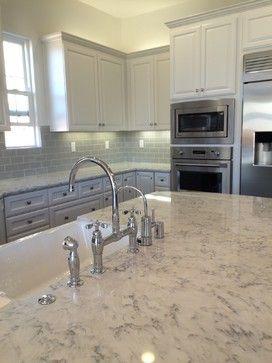 Desert Grey Tile Backsplash And Lg Viatera Rococo Countertops