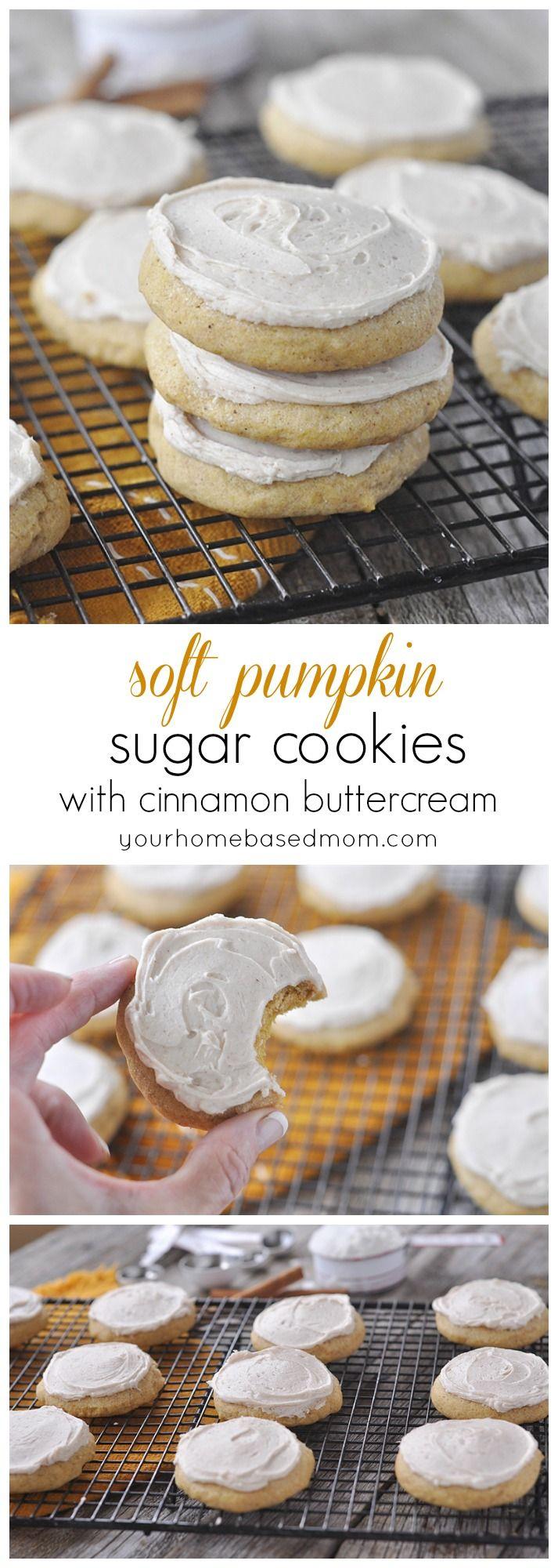 Soft Pumpkin Sugar Cookies with Cinnamon Buttercream