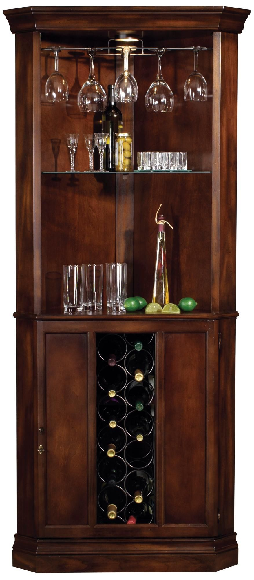 Howard Miller Piedmont Rustic Cherry Corner Bar Cabinet Style R7963 Corner Bar Cabinet