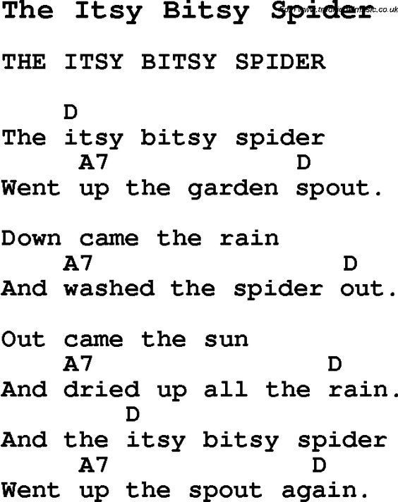 Summer Camp Song The Itsy Bitsy Spider With Lyrics And Chords For