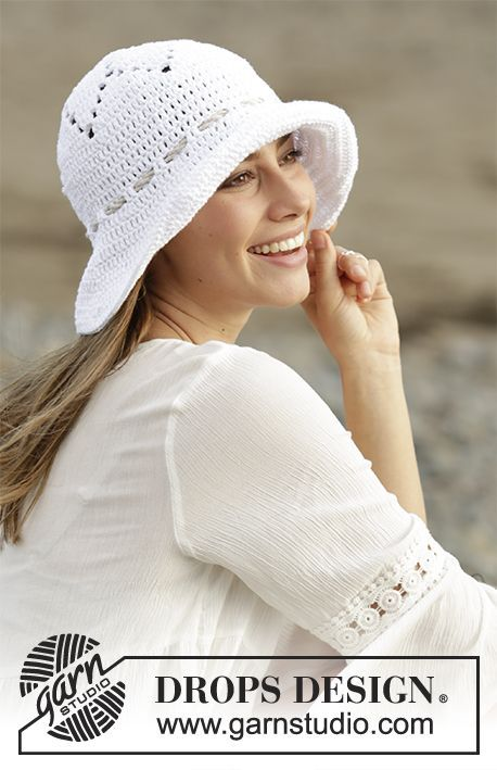 Sunny Smiles - Crochet hat with lace pattern in DROPS Paris. Free ...