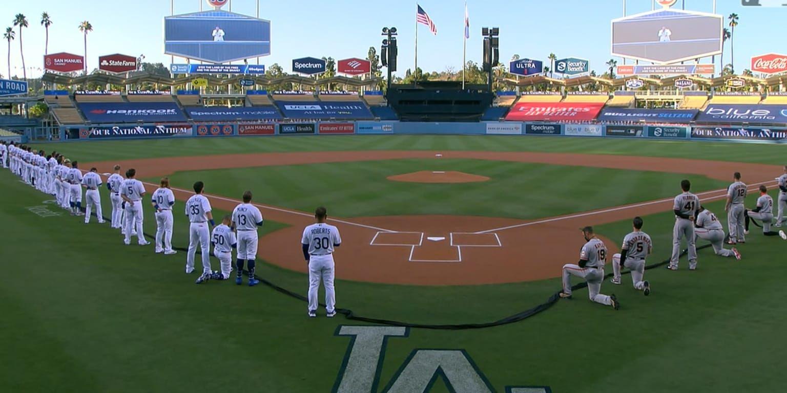The Pregame Ceremony Prior To The Giants Dodgers Season Opener At Dodger Stadium On Thursday Included Sev In 2020 Kneeling During National Anthem Giants Dodgers Anthem