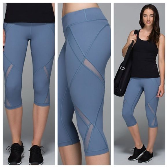 LuluLemon  Cool to Street Crop Blue Worn Once, these are adorable!!! Powder blue color, trendy mesh and cropped style, great for class or running errands! Comes with LULU Bag!  lululemon athletica Pants Ankle & Cropped