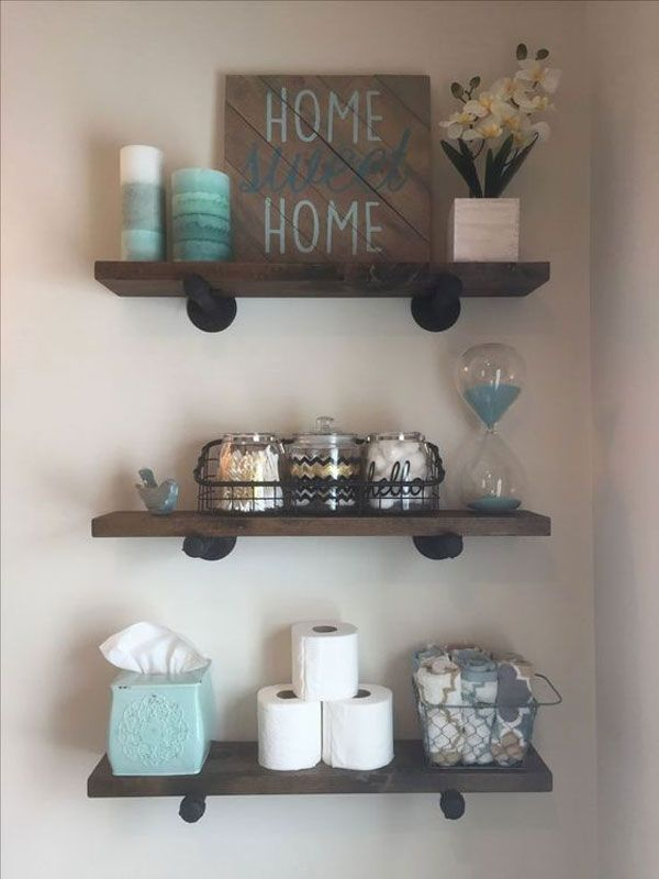 Niedliche DIY rustikale Badezimmer-Regal-Ideen - Nail Effect #simplebathroomdesigns
