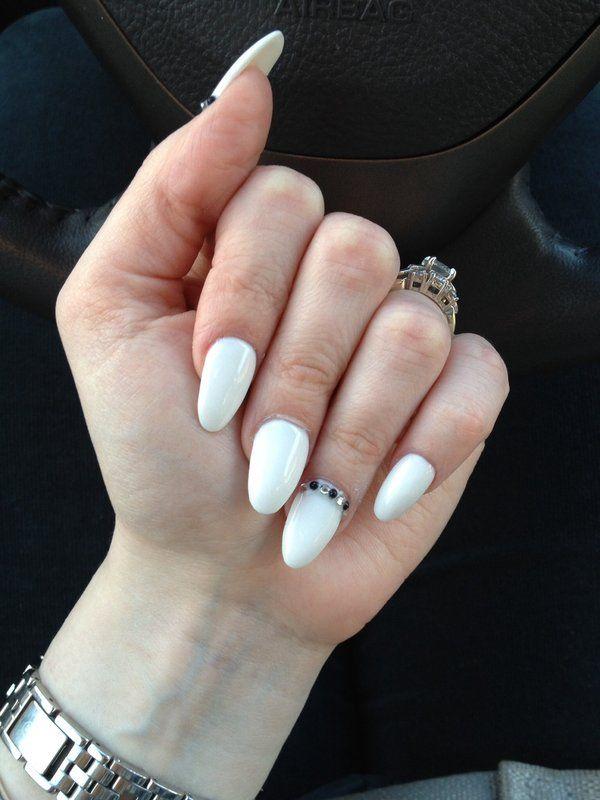 White Summer Almond Nails White Almond Nails Almond Nails Designs Nail Designs Tumblr
