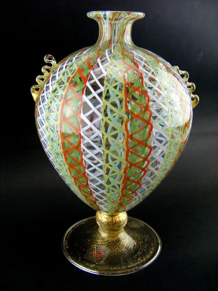 RARE TOP MURANO GLASS VASE RETICELLO AND GOLD GLASS FACTORY EUGENIO FERRO SIGNED