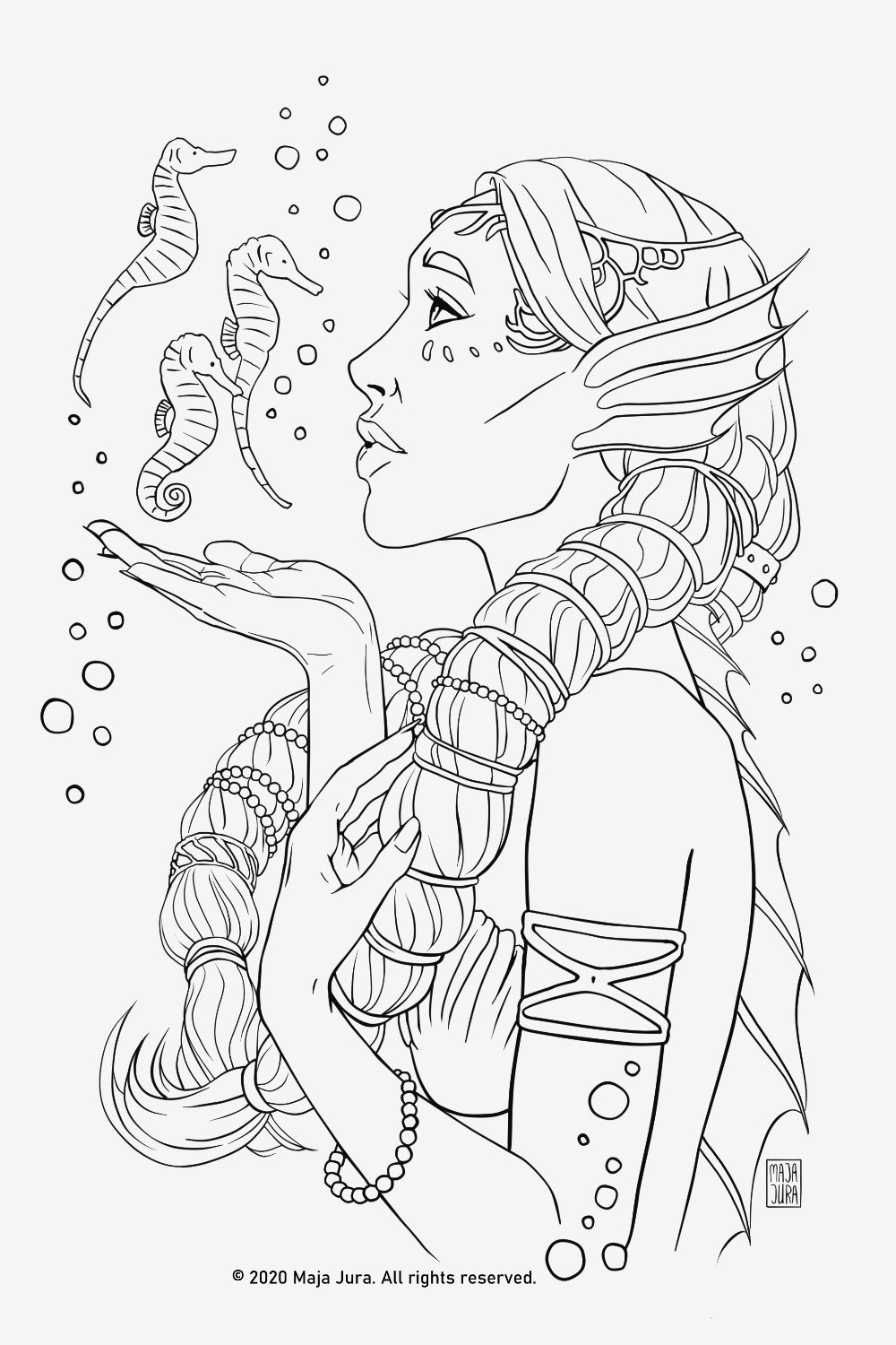 Mermaid Princess Lineart Coloring Pages Premium Coloring ...