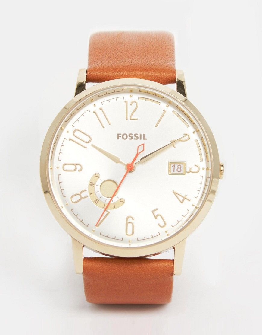 De fedeste Fossil Gold Vintage Muse Tan Leather Watch - Tan Fossil Ure til Damer i lækker kvalitet