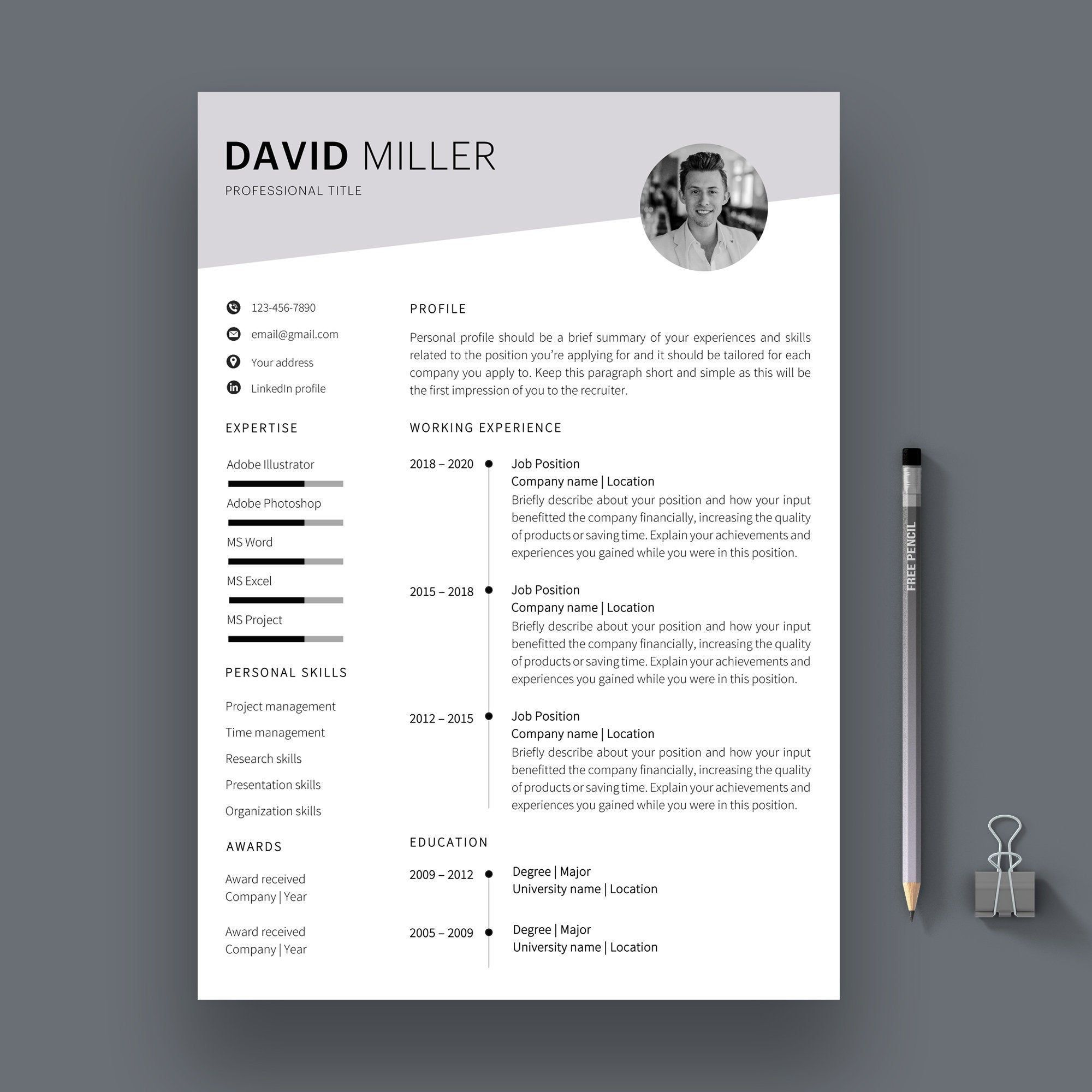 Resume Template for Word CV Template Cover Letter Etsy