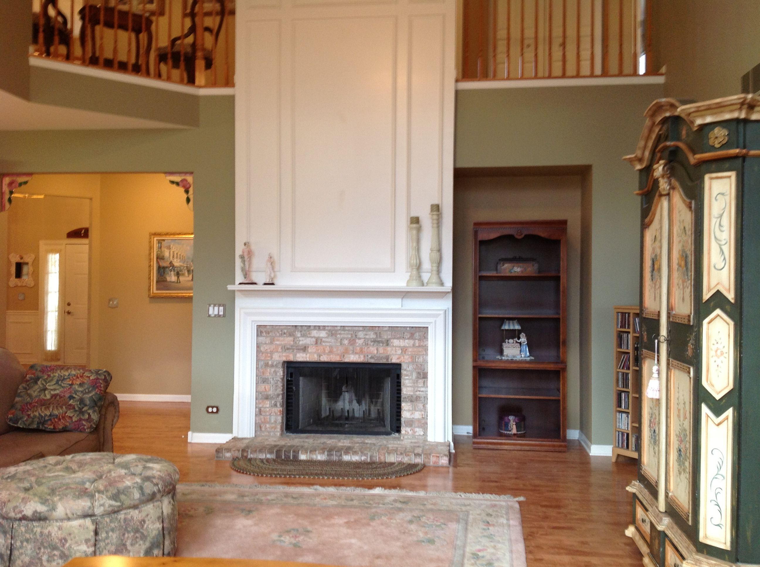 Family room with gas start wood burning fireplace wood