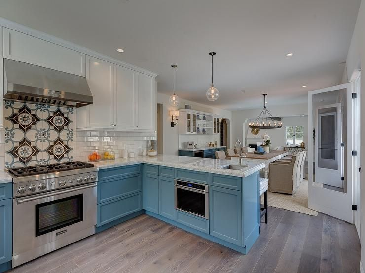 Two Tone Kitchen Features White Upper Cabinets And Blue