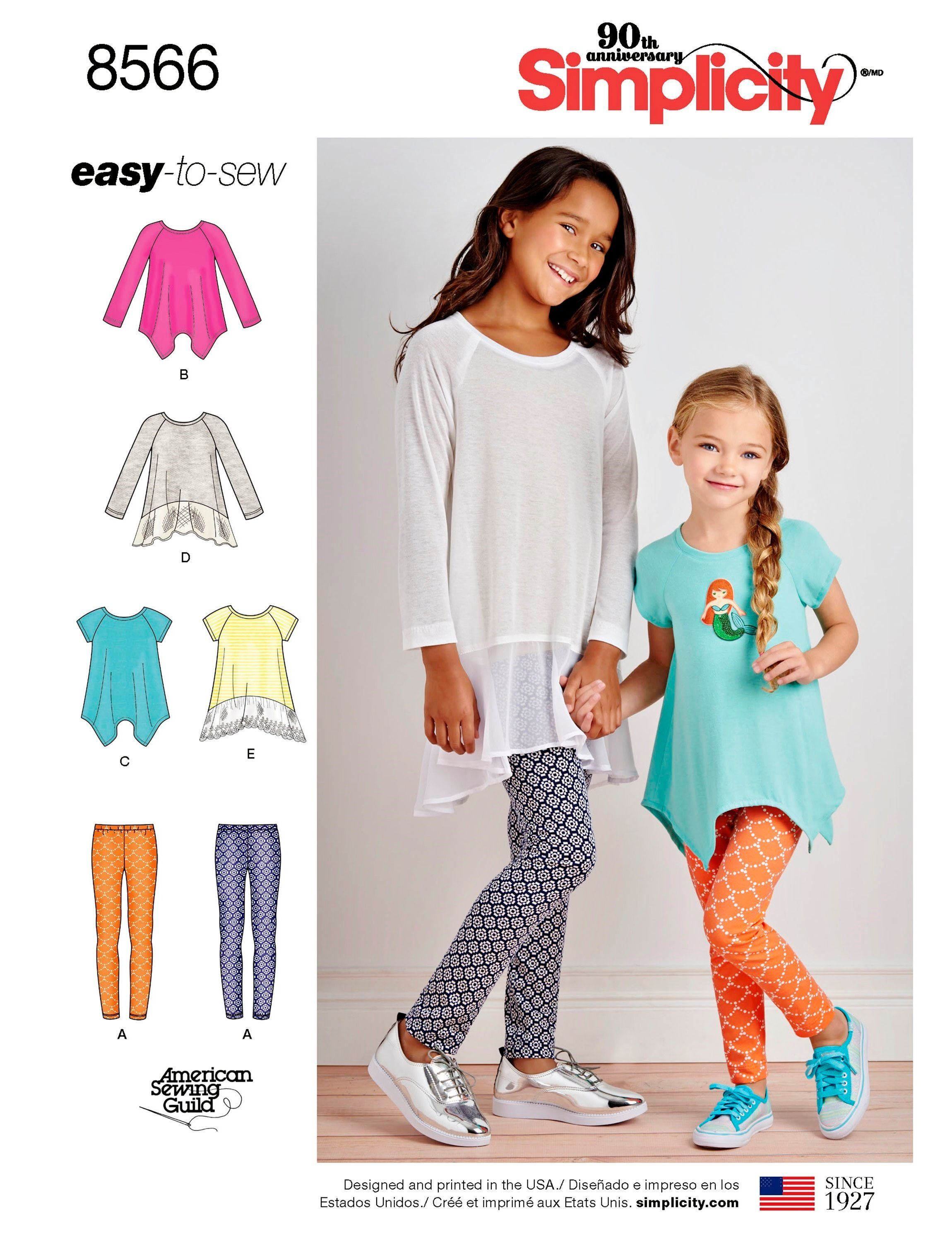 6d67cbb2302 Sewing Pattern Girls' Tunic Top and Leggings Pattern, Easy to Sew Girl's  Leggings and Loose Fit Top Pattern, Simplicity Sewing Pattern 8566 by ...
