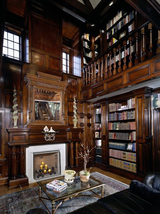 Library with dark wood paneling and fireplace | Home, Bars ...