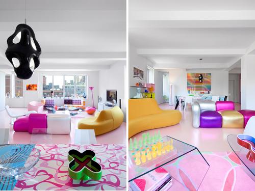 CASE DI DESIGNER casa di KarimRashid, NY. L'eccentrico e geniale designer canadese gioca con la creatività e il colore realizzando uno spazio abitativo allegro e luminoso