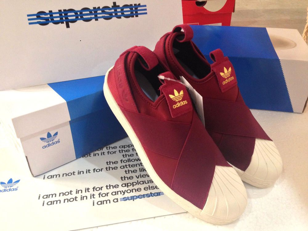 c452fe2d845eb 2015 ADIDAS ORIGINALS SUPERSTAR SLIP-ON MEN S SNEAKERS SHOES RED BURGUNDY 9  10