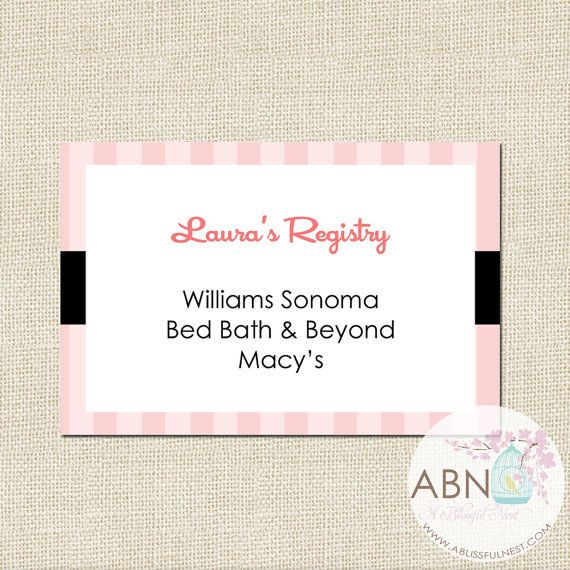 Bridal Shower Insert Registry Card Diy Printable By A Blissful Nest