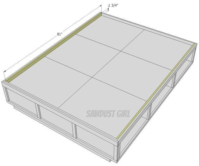 Queen Platform Bed Frame Plans   Build it: Queen Platform Storage ...
