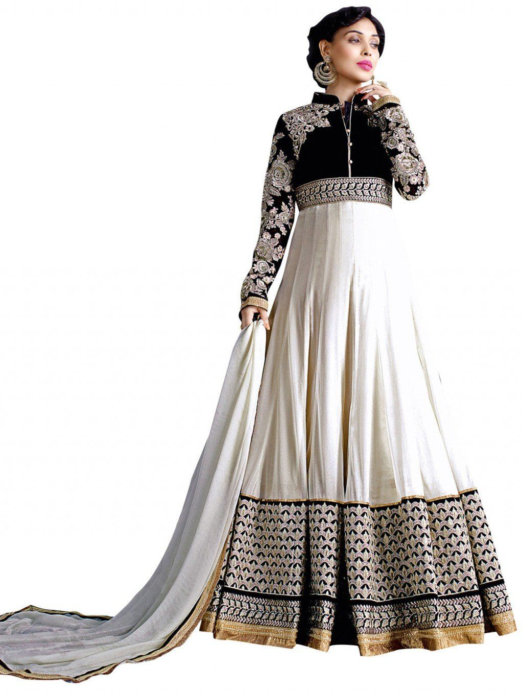 09734b6b26 Black and White Georgette Floor Length Anarkali Suit with Embroidery Work