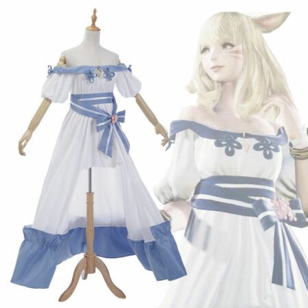 New Final Fantasy XIV FF14 Spring Dress Miqo'te Cosplay Costume Outfit cosplay.  Fashion is a popular style