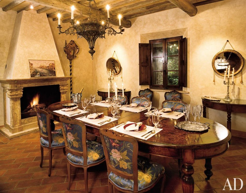 Charming Rustic Dining Room In Tuscan Villa Of Robert Zemeckis. Pretty Chairs!