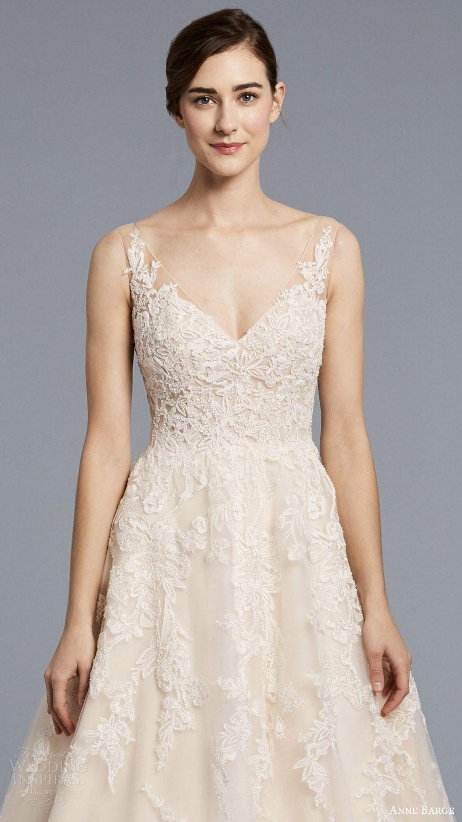 0e85767f89 anne barge spring 2018 bridal sleeveless illusion straps v neck sheer  beaded lace bodice a line wedding dress (camelot) zfv