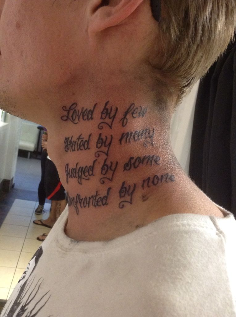 Writing tattoo, font is from photo shop