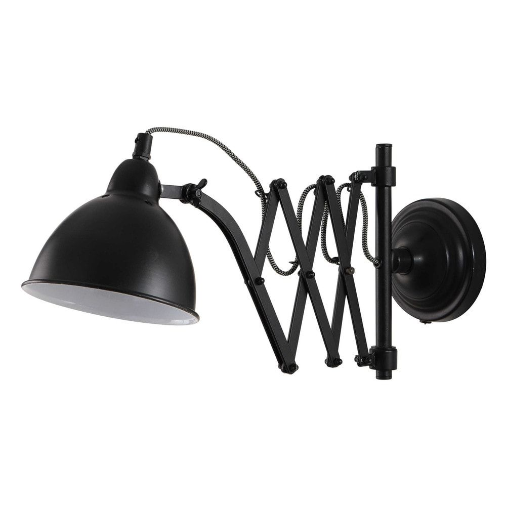 wandlamp van zwart metaal h26 mecanique wandlamp metalen en lampen. Black Bedroom Furniture Sets. Home Design Ideas