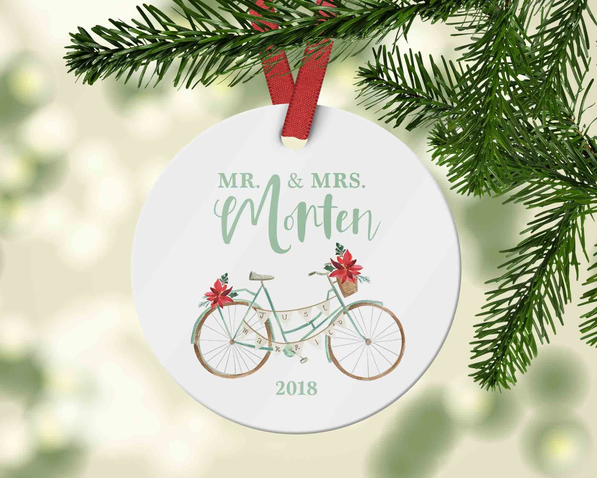 Customized Mr And Mrs Ornament Gift For First Christmas Etsy First Christmas Married Bike Wedding Ornament Gifts