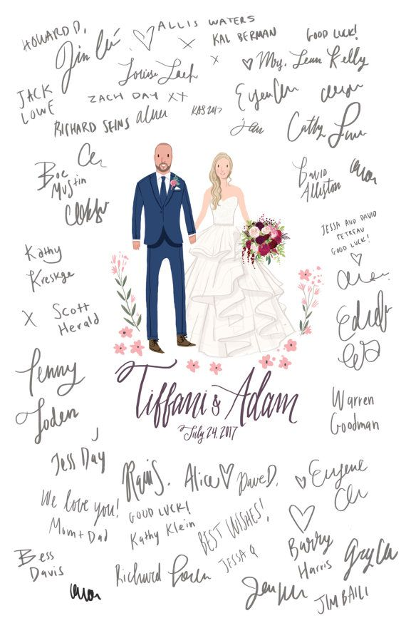 Custom Illustrated Wedding Guest Book Guest Book Portrait Alternative Digital File Wedding Guest Book Wedding Guest Book Alternatives Guest Book Alternatives