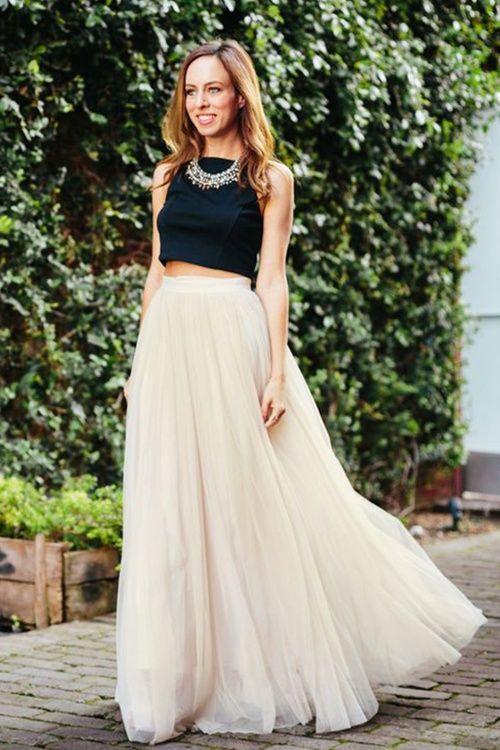 Uitgelezene Little Mistress 50s Olivia Maxi Tulle Skirt in Cream | Lange tule ZO-55