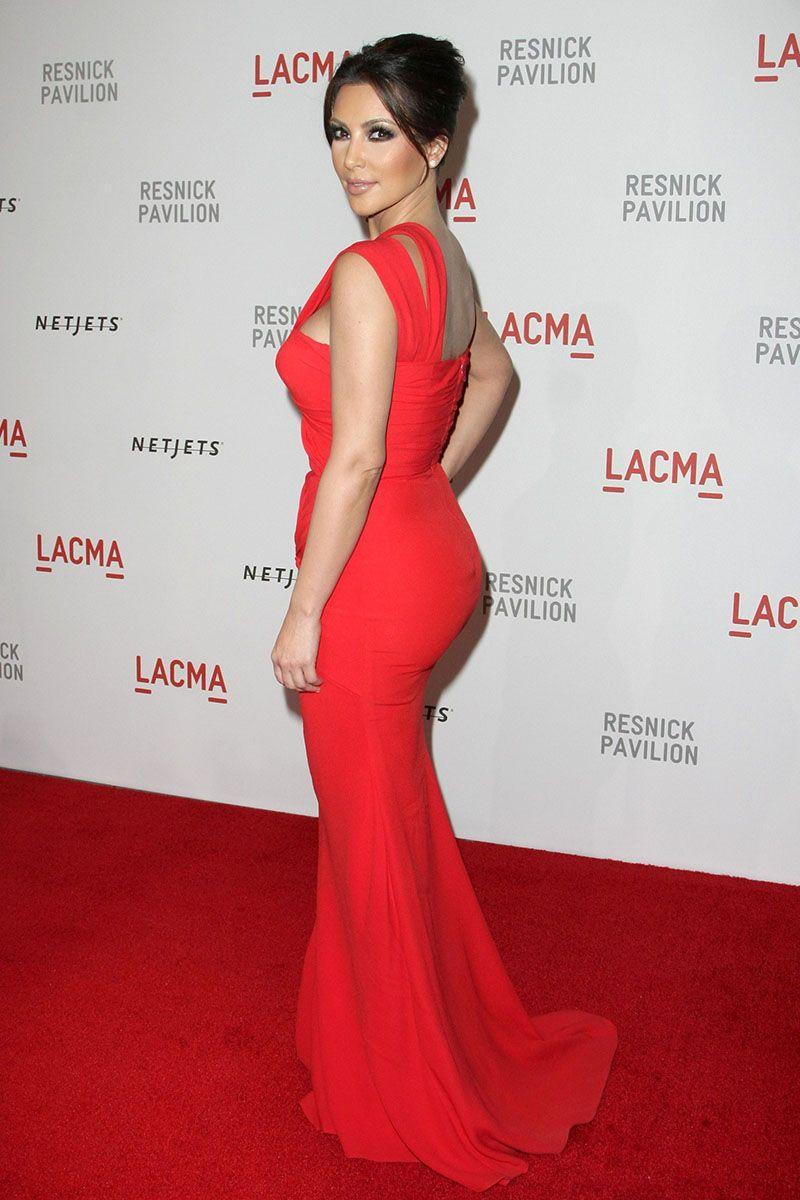Kim kardashian lacma red carpet dress single shoulder strap mermaid
