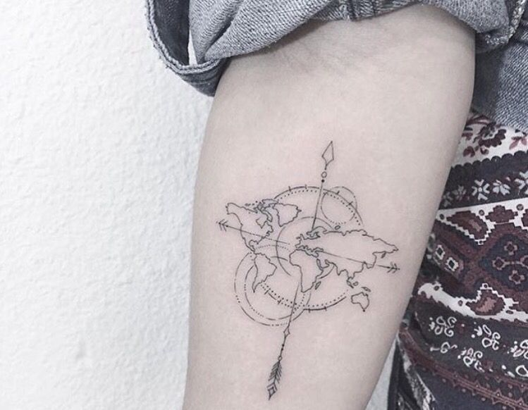 Compass ink ink pinterest compass tattoo and future tattoos biggest tatto gallery world map tattoo on forearm by karry ka ying poon find your perfect tatto now gumiabroncs Gallery