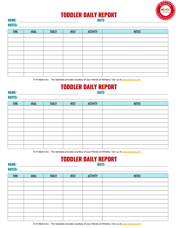 toddler daily report 3 per page infant toddler preschool daily