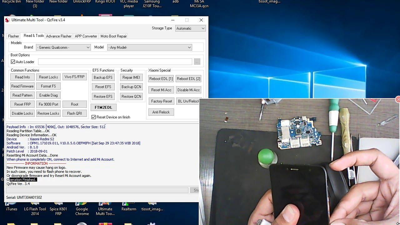 Xiaomi Mi A2 MI Account remove and FRP pattern unlock umt dongle 100