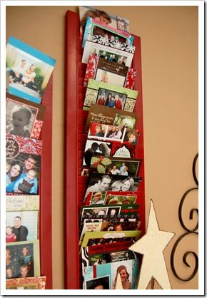 painted shutter for christmas cards ....love this idea!