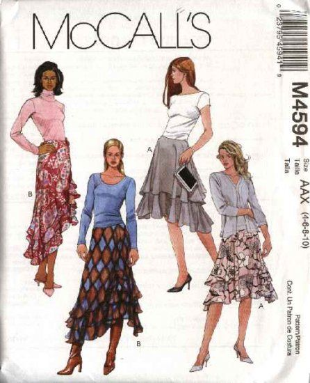 McCall's Sewing Pattern 4594 M4594 Misses Size 4-10 Short Long Tiered Layered Flared Skirts   McCall's+Sewing+Pattern+4594+M4594+Misses+Size+4-10+Short+Long+Tiered+Layered+Flared+Skirts