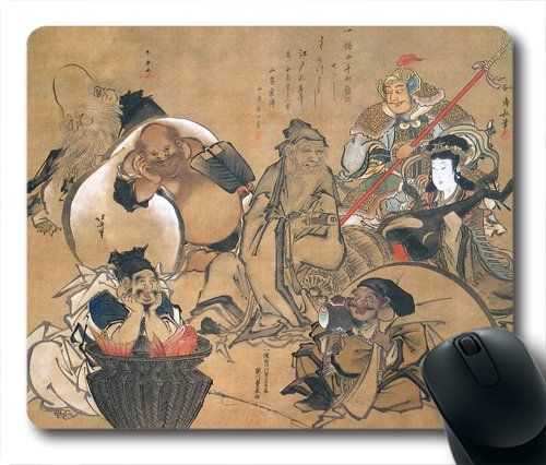 "Seven Lucky Gods of Japan Custom Non-Slip Oblong Mouse Mats in 7""*9"" $5.50"