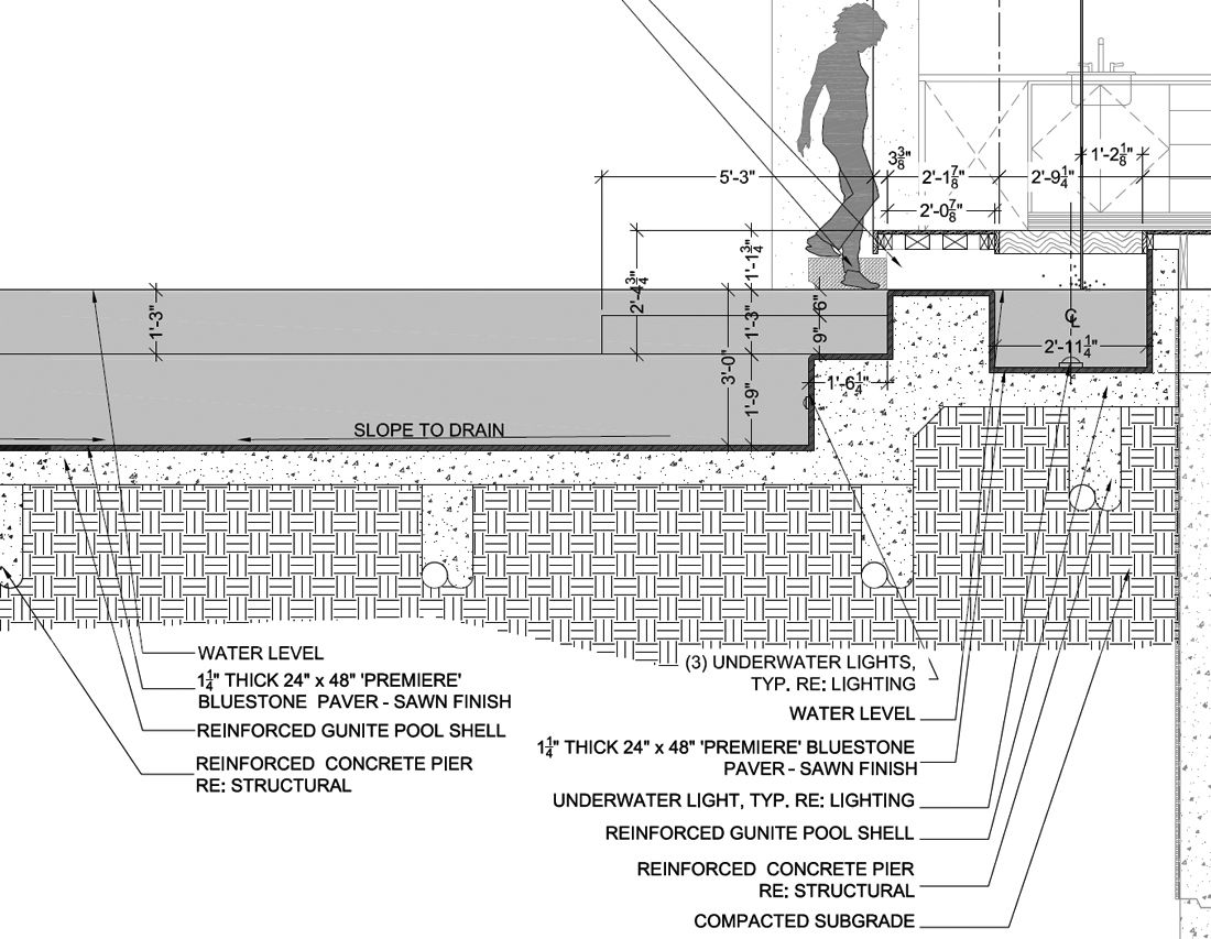 Pool detail drawing by for Pool design standards