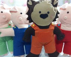 Kit de Bonecos Três Porquinhos e lobo.