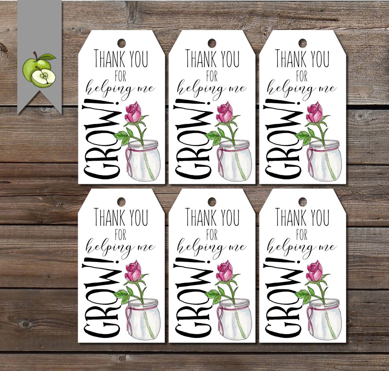 Teacher Gift Tags Thank You For Helping Me Grow Printable Gift Tag