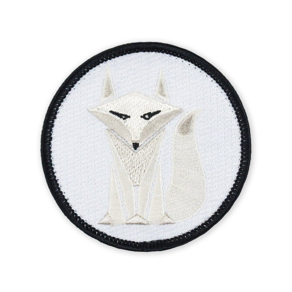 Fox White Arctic Fully embroidered Iron On Patch Crafts Snow Polar