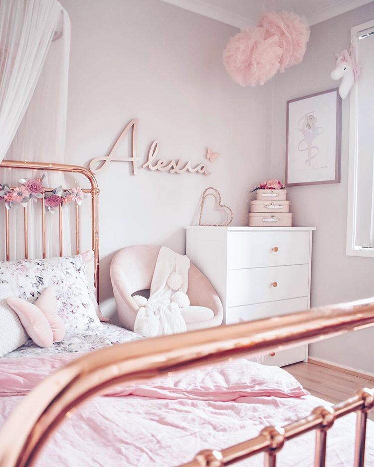 Girls Children S Bedroom Decor Pink Rose Gold Pink Girl Room Pink Bedroom Furniture Rose Gold Bedroom