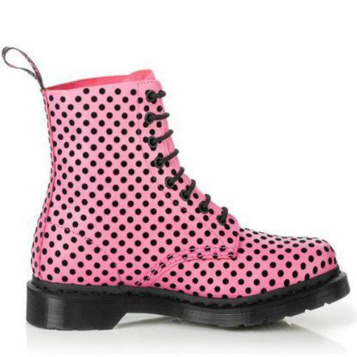 Dr Martens Dr Martens Pascal Womens Soft Leather 8 Eyelet Dot Flock Ankle Boots Purple + Black