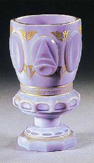 A South Bohemian gilt `Agatin-Opal' beaker, probably Count Buquoy Glassworks,...