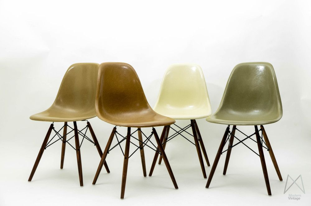 Eames Original Herman Miller Fiberglass Dsw Chair Set Natural